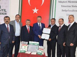 """KAYSERİ ŞEKER TS ISO 10002 """"MÜŞTERİ MEMNUNİYETİ YÖNETİM SİSTEMİ"""" BELGESİ ALDI"""