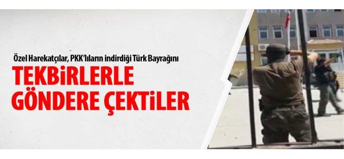Türk bayrağını tekbirlerle göndere çekti-video