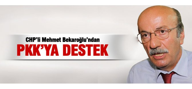 CHP'li Mehmet Bekaroğlu'ndan PKK'ya destek!