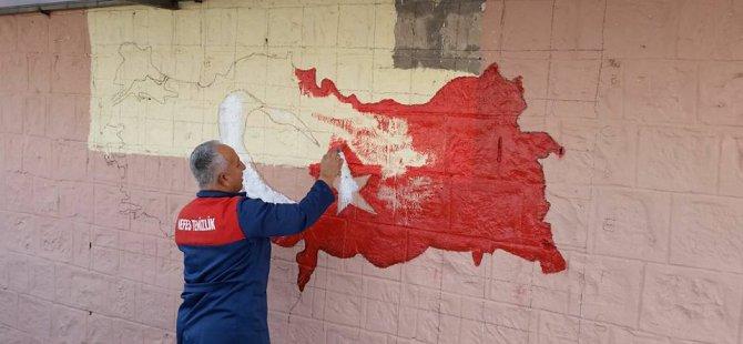 Kocasinan Ebiç köyü okul bahçesine çizilen Türkiye haritası
