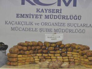 KAYSERİ'DE 2 AYRI OPERASYONDA 59 KİLO UYUŞTURUCU ELE GEÇİRİLDİ