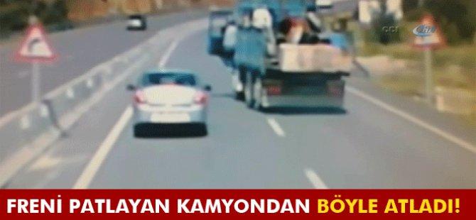 Freni patlayan kamyondan böyle atladı-Video