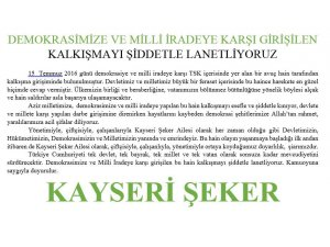 KAYSERİ ŞEKER FABRİKASI İLAN
