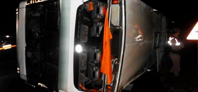 Kayseri'de Yolcu otobüsü devrildi: 15 yaralı