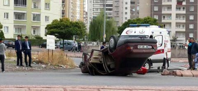 İldem'de Direksiyon hakimiyeti kaybolan otomobil ters döndü