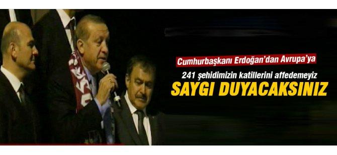 Erdoğan: 241 şehidimizin katillerini affedemeyiz