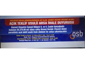 KAYSERİ OSB'DE İHALE