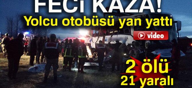 Trafik kazası: 2 ölü, 21 yaralı
