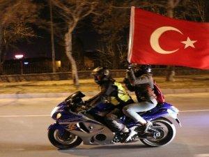 Kayseri'de 100 motosikletçiden Afrin'de yürütülen 'Zeytin Dalı' operasyonuna destek