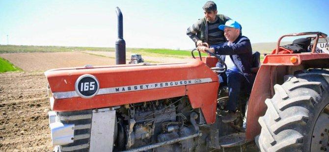 Çolakbayrakdar, 65'lik traktör üstünde tarla sürdü