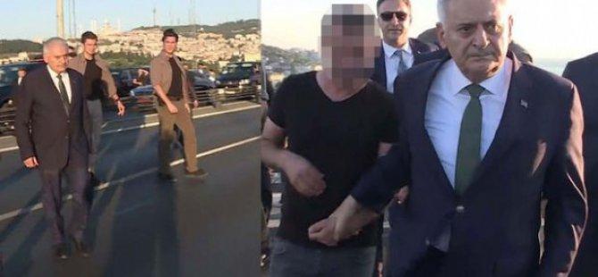 15 Temmuz Şehitler Köprüsü'nden intihar etmeye kalkışan bir vatandaşı, Başbakan Yıldırım vazgeçirdi