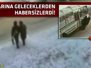 Karşıya geçerken otobüsün altında kaldılar!video