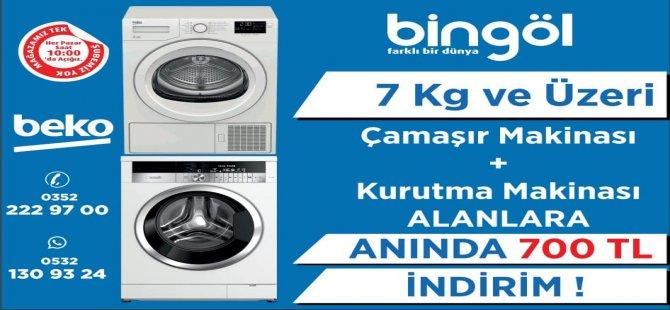 Bingöl Ticaret 7 kg ve üzeri çamaşır makinası ile birlikte kurutma makinası alana 700 tl indirim