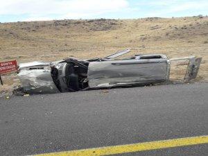 Develi'de Aracın hurdaya döndüğü kazadan yaralanmadan kurtuldu
