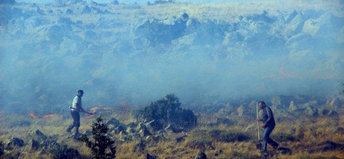 Süksün'de Çıkan yangında buğday ekili tarla kül oldu