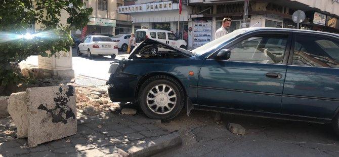 Sahabiye'de trafik kazası duvara çarparak durabildi