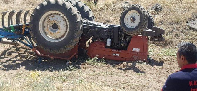 Develi'de Devrilen traktörün altında kalan yaşlı adam öldü