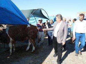Melikgazi belediye başkanı Dr. Mustafa Palancıoğlu kurban çadırlarını gezdi