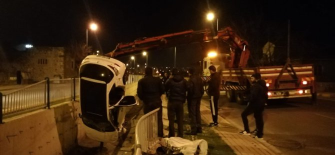 Erenköy'de Otomobil kanala uçtu: 1 yaralı
