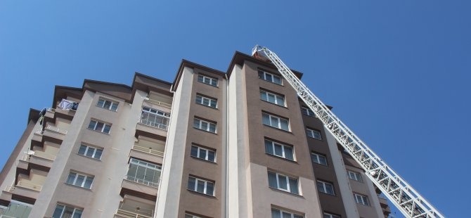 Talas'ta 11 katlı bir apartmanda yangın çıktı