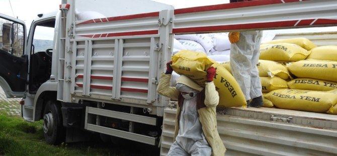 Bünyan'da karantinaya alınan çiftçilere yem desteği