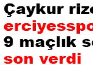 Çaykur rizespor erciyesspor'un 9 maçlık serisine son verdi