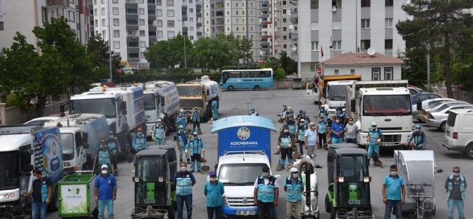Kocasinan Belediyesi 129 modern araç ile mahalle mahalle temizlik yaptı