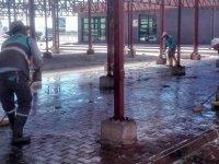 Melikgazi'de 23 kapalı pazar yerinde temizlik çalışması yapıldı