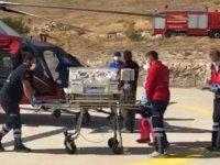 Moraran bebek hava ambulansı ile hastaneye kaldırıldı