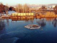 Kayseri ilçeleri eksi 20'leri gördü Şeker Fabrikası Gölü Dondu