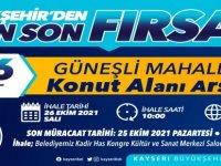 Kayseri Büyükşehir'de 106 adet konut arsası ihaleye çıkıyor