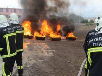 Kayseri OSB İtfaiye Müdürlüğü'nün yangın tatbikatı göz doldurdu