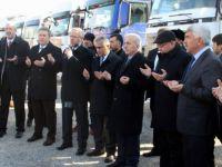 Talas'ta Yardım malzemesi taşıyan 12 TIR Halep'e uğurlandı