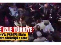 Erdoğan'ın konuşmasını provoke etmeye çalışan PKK/YPG'linin evire çevire dövüldüğü o anlar