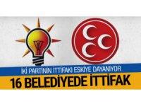 Ak Parti ile MHP 16 belediyede ittifak yaptı