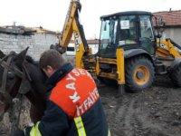 Yavuzlar'da Çukura düşen atı itfaiye kurtardı