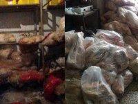 Kayseri Boztepe'de 30 ton at eşek kaçak et imha edildi