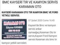Oymaagaç Mahallesi Kayseri TIR KAMYON SERVİSİ KARAMAN OTO