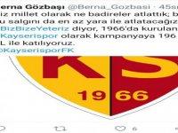 Kayserispor, Cumhurbaşkanı Erdoğan tarafından başlatılan Milli Dayanışma Kampanyası'na destek verdi